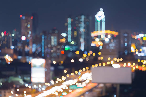 Blurred lights night view, Bangkok city downtown, abstract background圖像檔