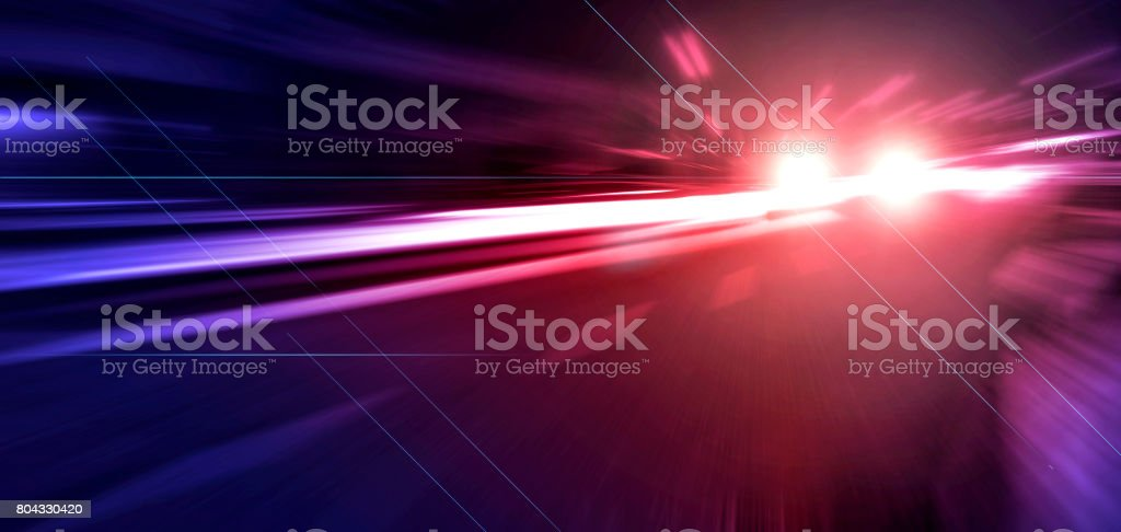 Blurred lights of Police car, long exposure stock photo