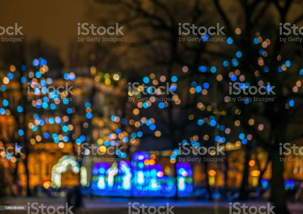 Blurred lights on street stock photo