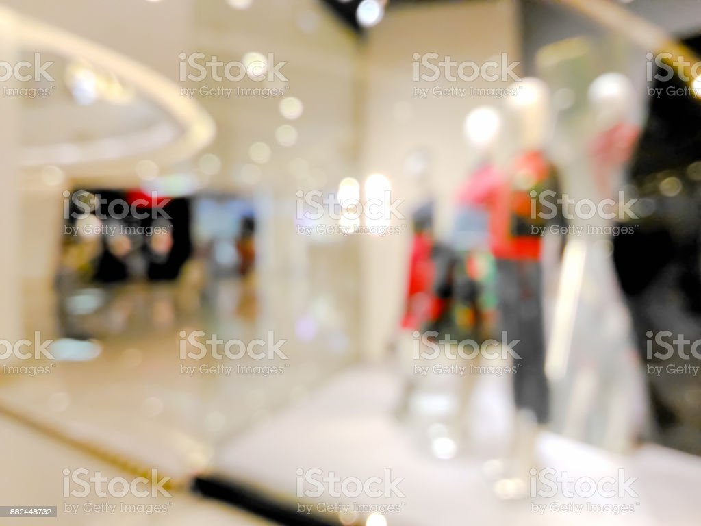 Blurred mannequins in a clothing shop in shopping mall stock photo