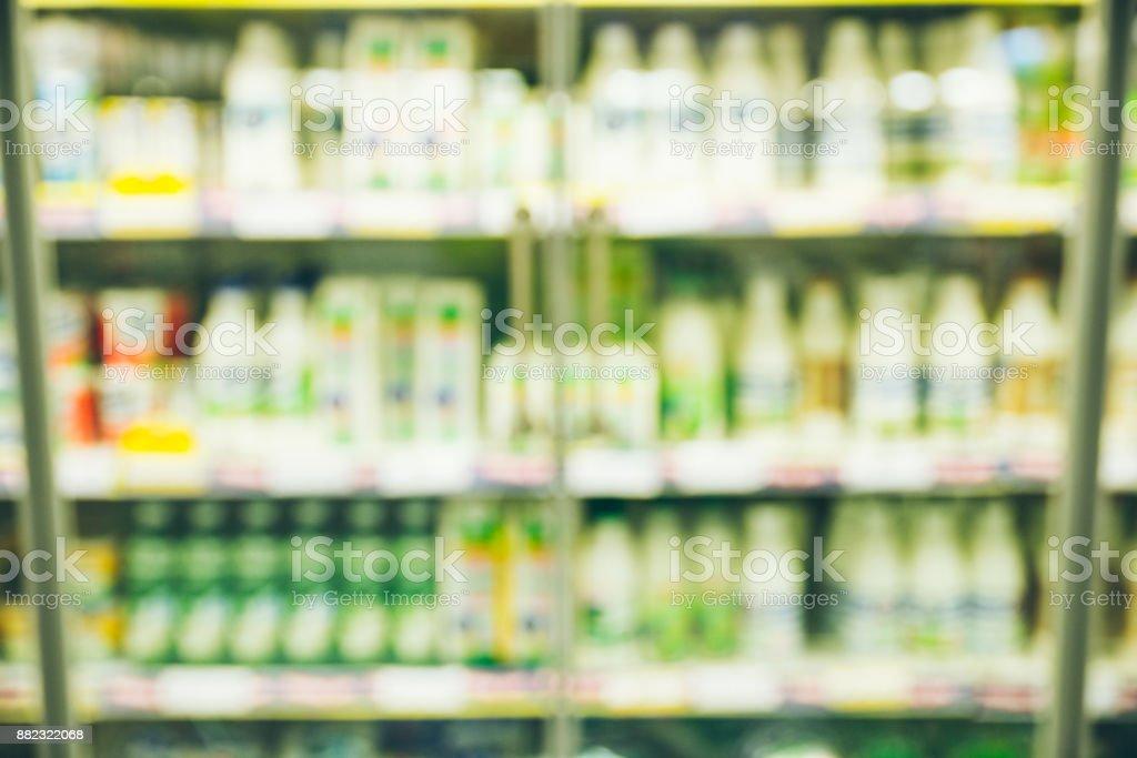blurred milk shelf stock photo