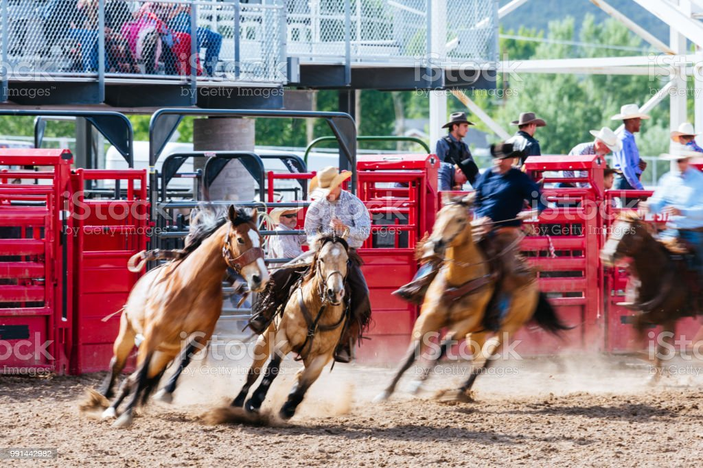 Blurred motion cowboy reins in wild horse at rodeo stock photo