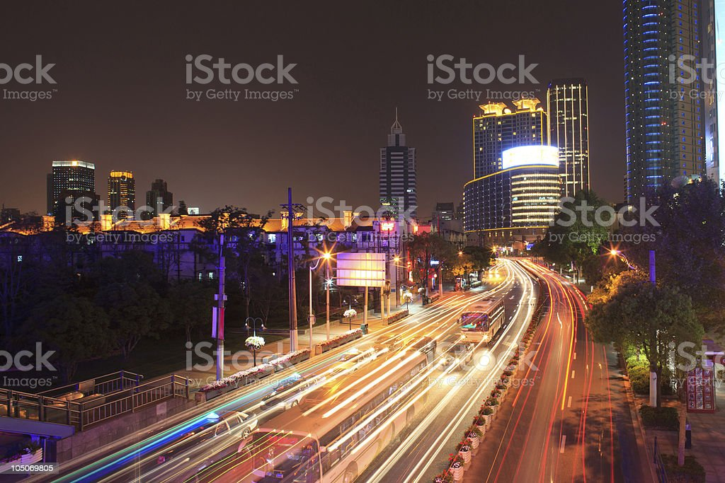 Blurred motion in a modern city royalty-free stock photo