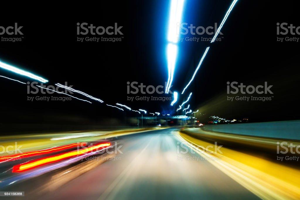 Blurred Motion Night Road stock photo