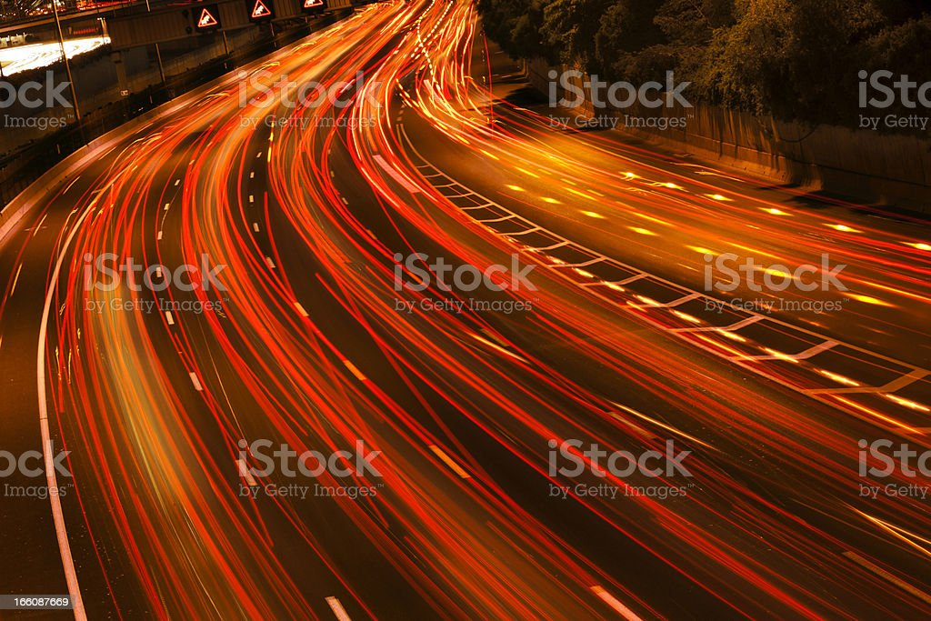 Blurred motion of a traffic river royalty-free stock photo