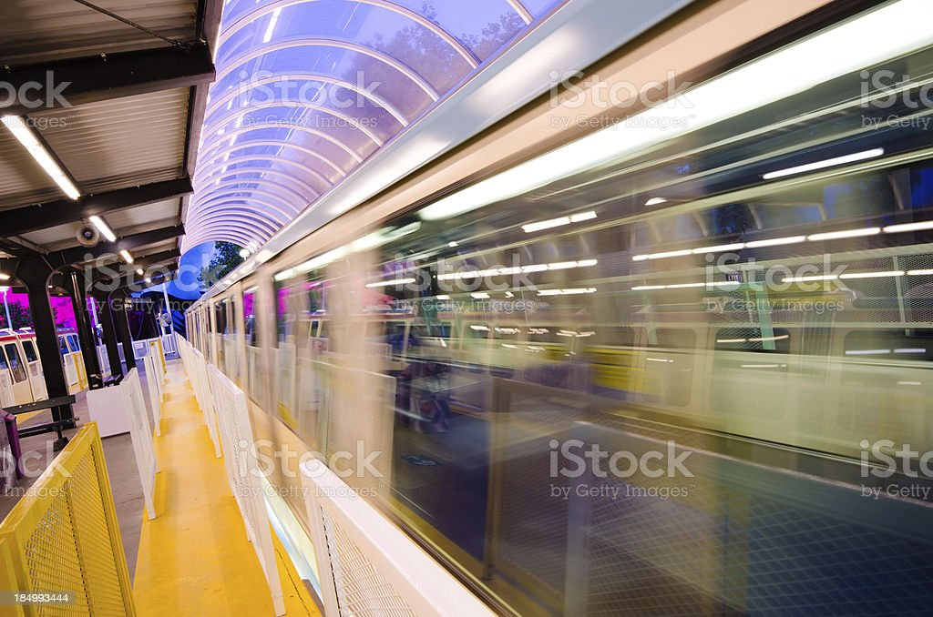 Blurred motion of monorail at Seattle Center stock photo
