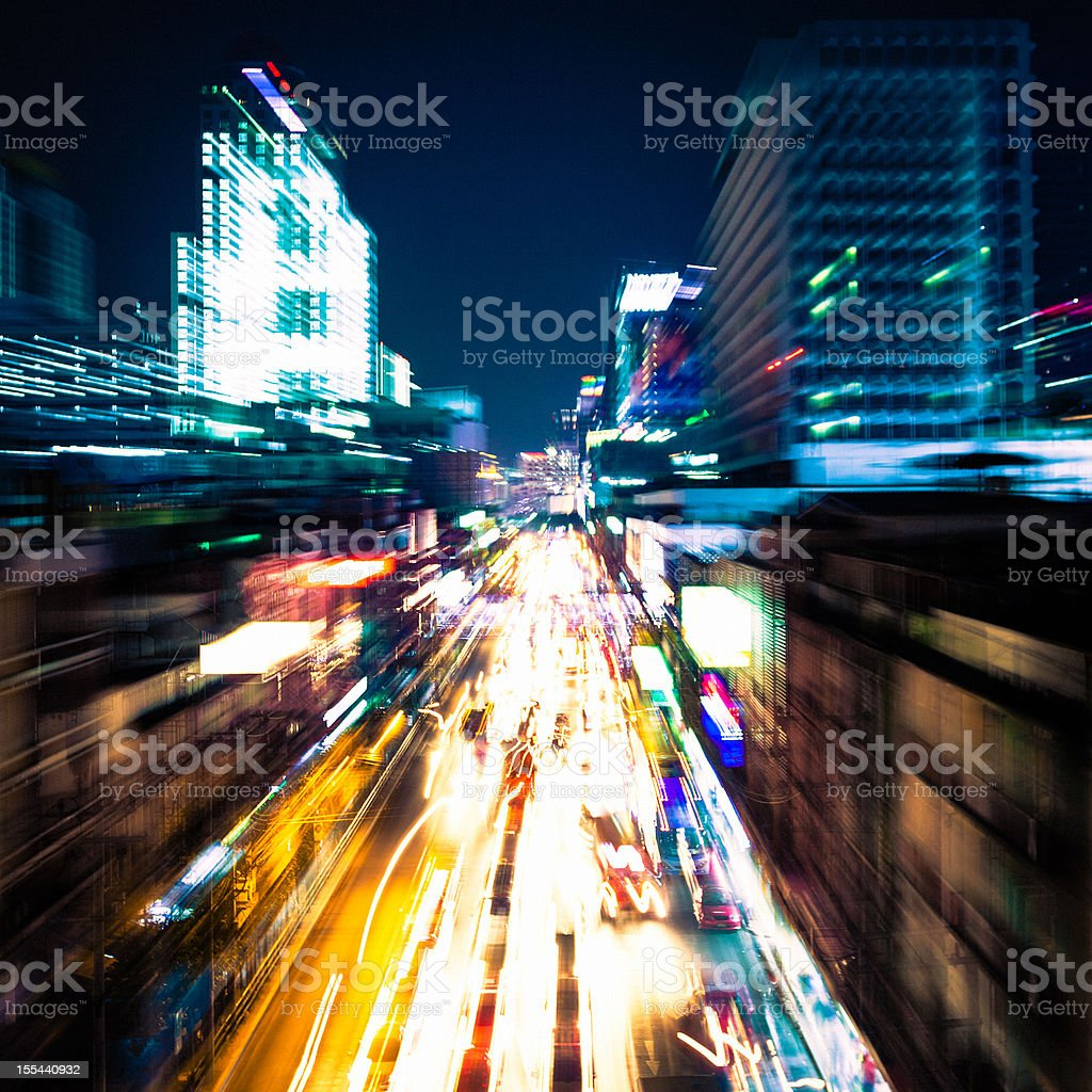 Blurred motion of skyscraper and traffic in Bangkok royalty-free stock photo