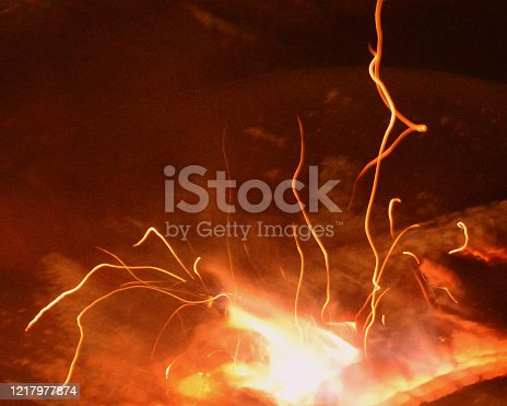 Sparks from burning firewood close up