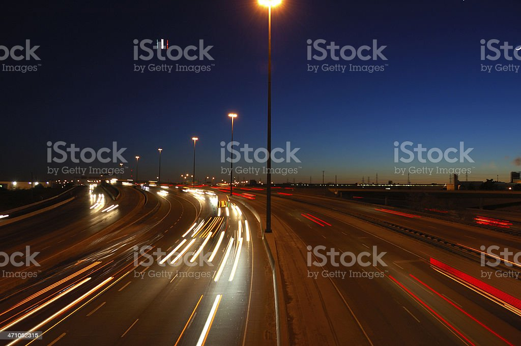 Blurred motion on a Canadian highway stock photo