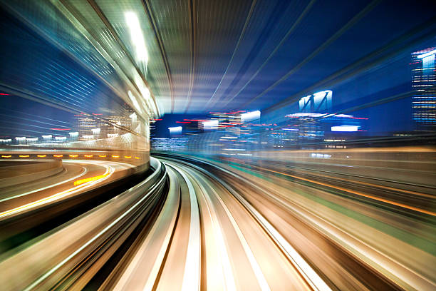 blurred motion on the subway in tokyo. - distorted image stock pictures, royalty-free photos & images