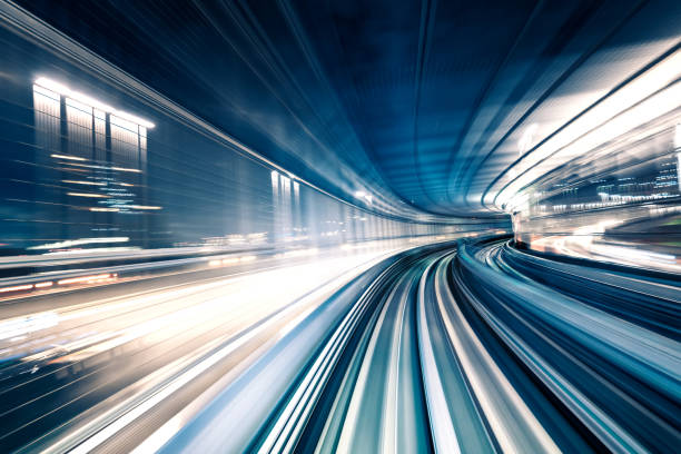 blurred motion on the subway in tokyo - train vehicle stock photos and pictures