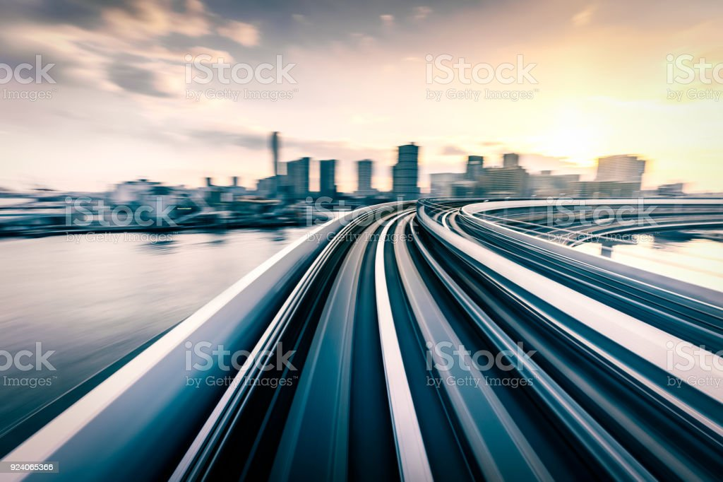 Blurred motion on the Subway in Tokyo stock photo
