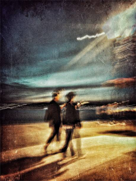 Blurred motion view of the couple walking