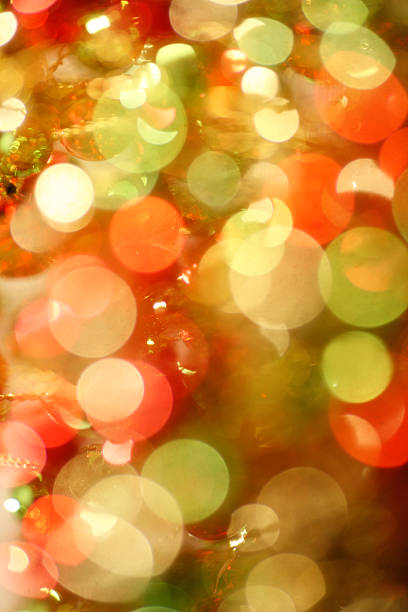 Blurred Multicolored Christmas lights stock photo