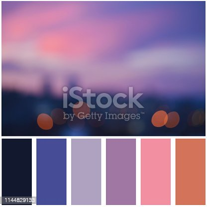 Blurred night city and palette of colors. Colour swatches.