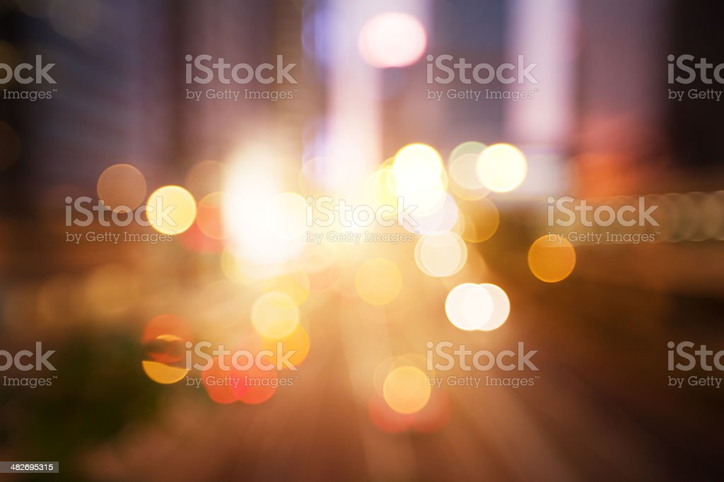 Blurred night lights in Hong Kong stock photo