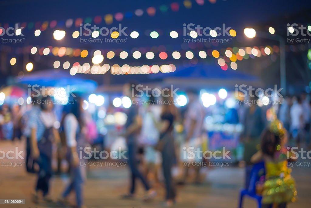 blurred night market walking street in Thailand stock photo