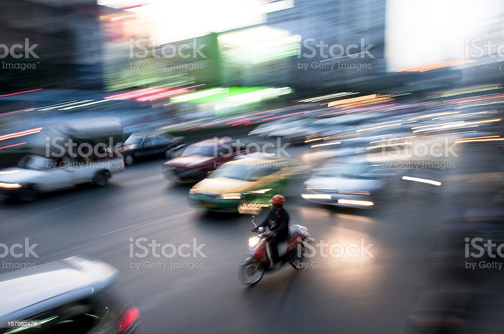 Blurred Night Traffic In Bangkok, Thailand stock photo