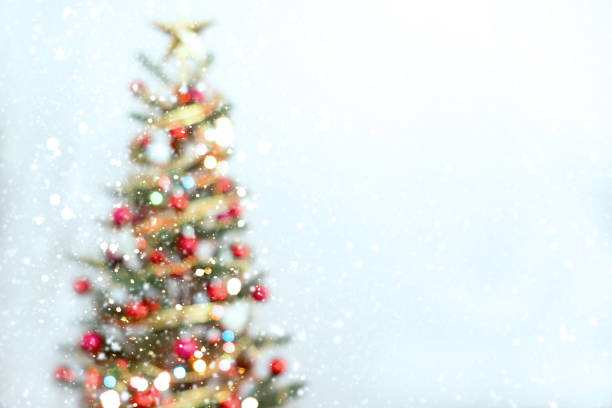 blurred of christmas tree - christmas tree stock photos and pictures