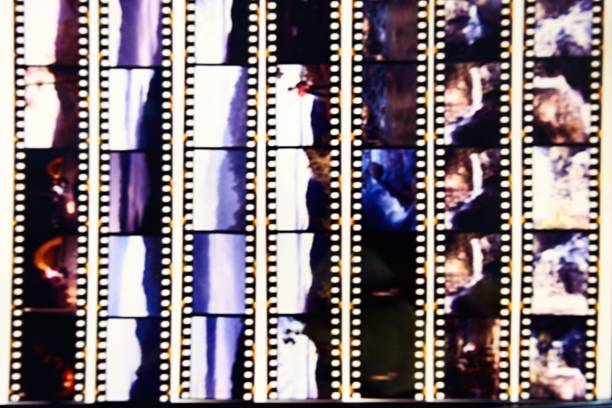 Blurred of film contact print stock photo