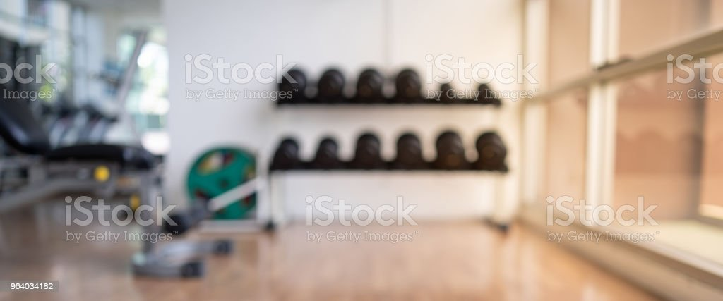 Blurred of fitness gym background for banner fitness exercise concept - Royalty-free Activity Stock Photo