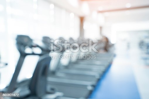 istock Blurred of fitness gym background for banner presentation, healthy concept 865801672