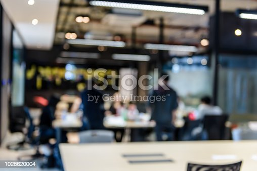 618851838 istock photo Blurred of group of young business people meeting at working space in office. Corporate business team concept 1028620004