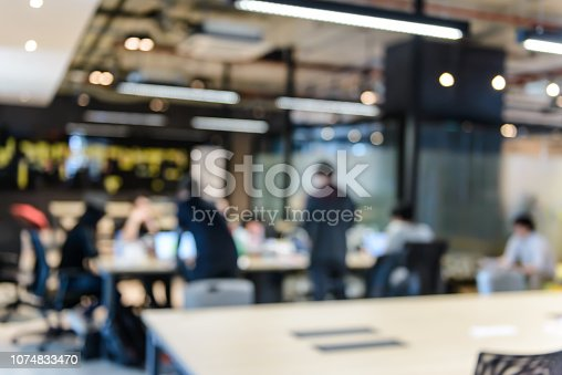 618851838 istock photo Blurred of group of young business people meeting at working space in office. Corporate business team concept 1074833470