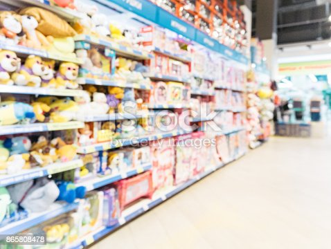 926078666 istock photo Blurred of kids toy store background 865808478