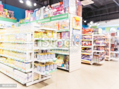 926078666 istock photo Blurred of kids toy store background 865808516