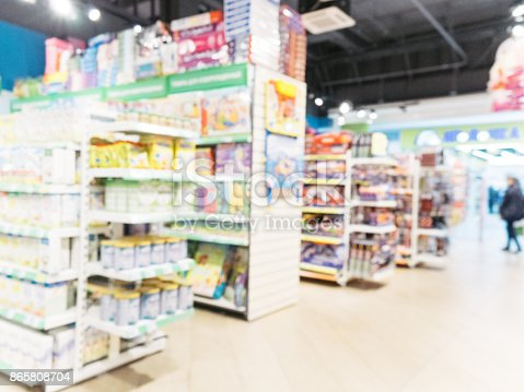 926078666 istock photo Blurred of kids toy store background 865808704