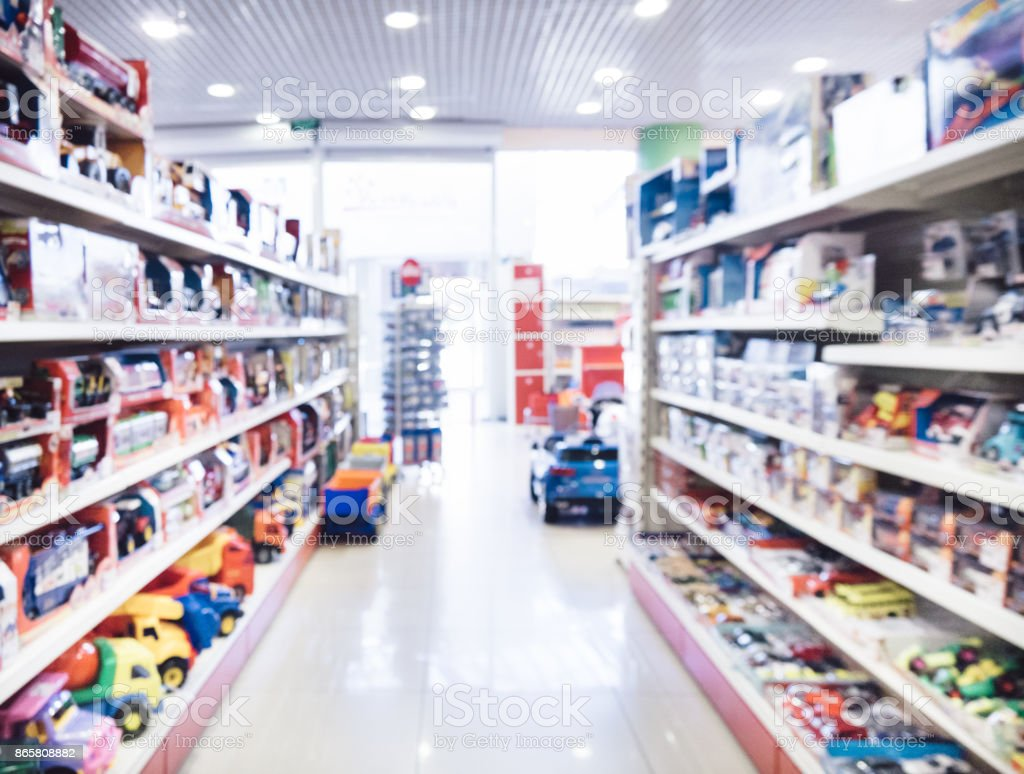 Blurred of kids toy store stock photo