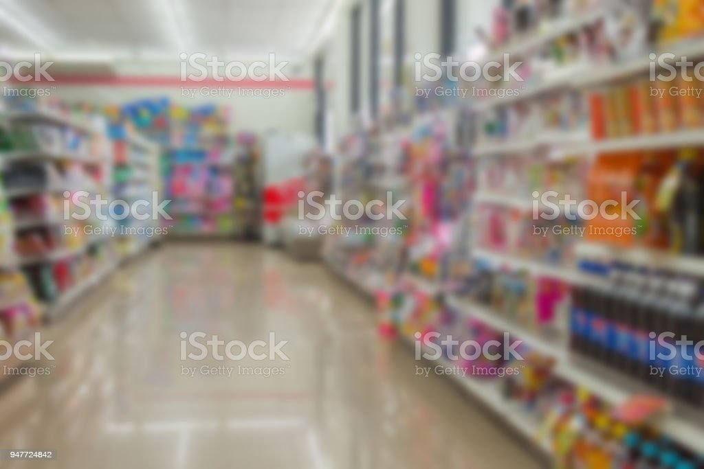 Blurred of Many types of goods in convenience store. stock photo