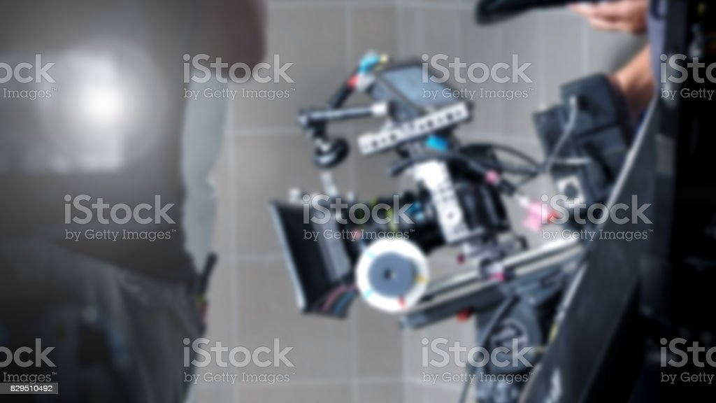 Blurred of movie production shooting some video stock photo