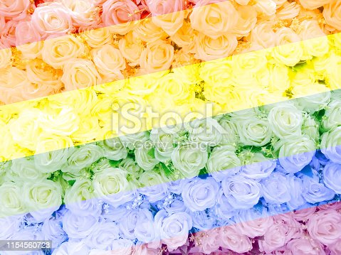 istock Blurred of sweet roses in Rainbow color style 1154560723