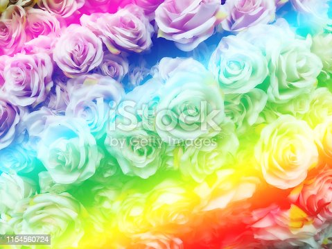 istock Blurred of sweet roses in Rainbow color style 1154560724