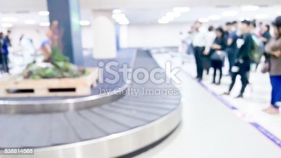 istock Blurred passengers and Conveyer belt 838814568