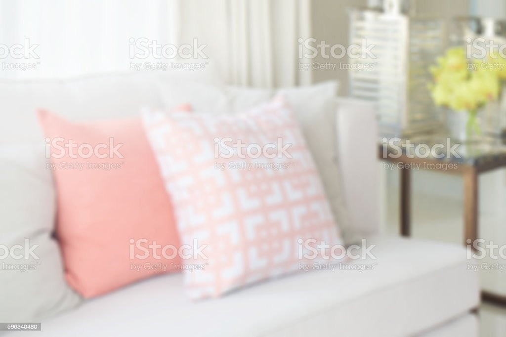 blurred pattern pillows on light gray sofa set for background royalty-free stock photo