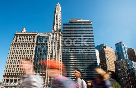 813211754 istock photo Blurred pederasties - Downtown CHICAGO / City concept (click for more) 1173460866
