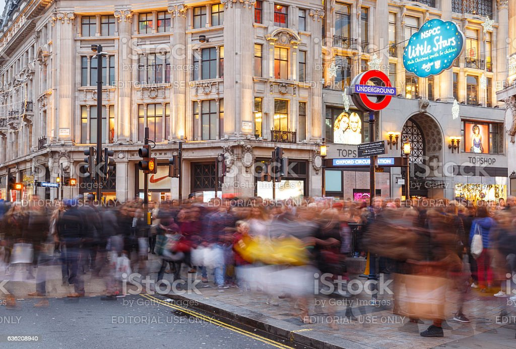 Blurred people Christmas Shopping at Oxford Circus, London. stock photo