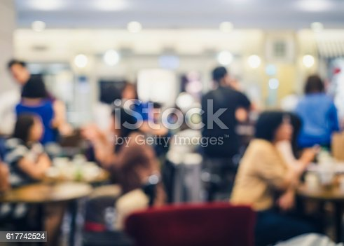 istock Blurred People eat and drink Restaurant Shop interior background 617742524