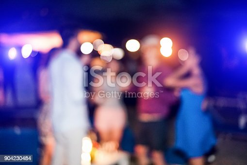 613897214istockphoto Blurred people having sunset beach party in summer vacation - Defocused image - Concept of nightlife with cocktails and music entertainment - Warm filter with blurry bokeh 904230484