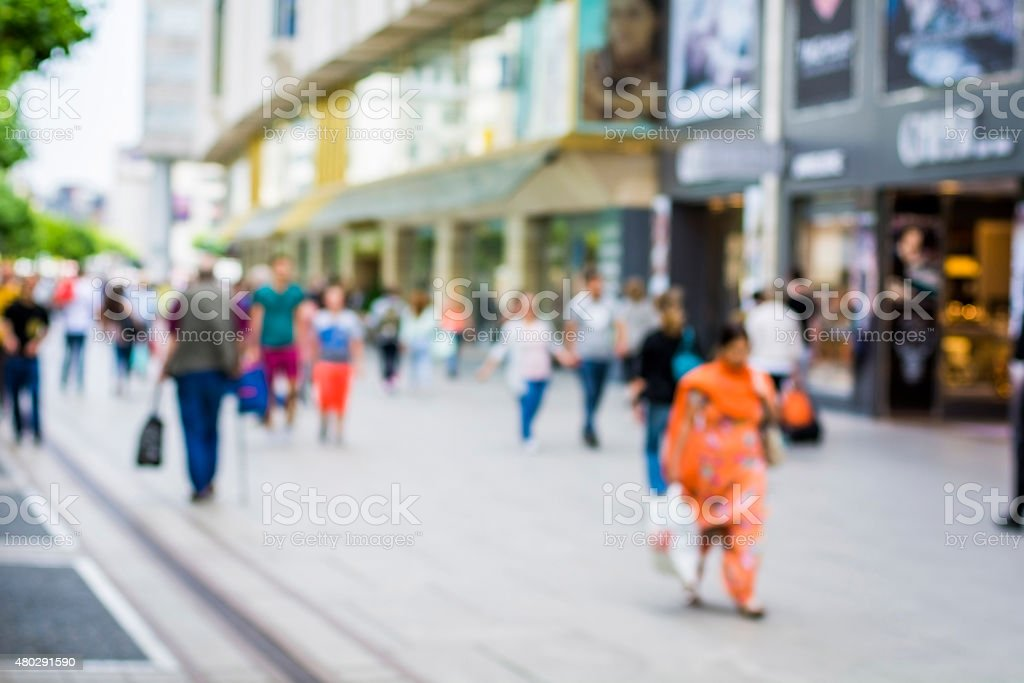 Blurred people in the street stock photo