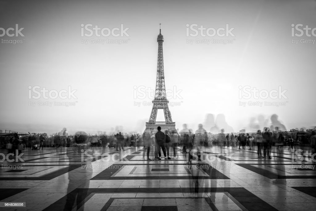Blurred people on Trocadero square admiring the Eiffel tower, Paris, France royalty-free stock photo