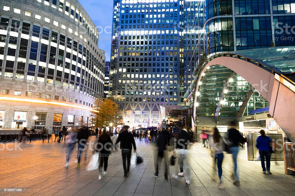 Blurred People Walking in Front of Modern Office Building, London stock photo
