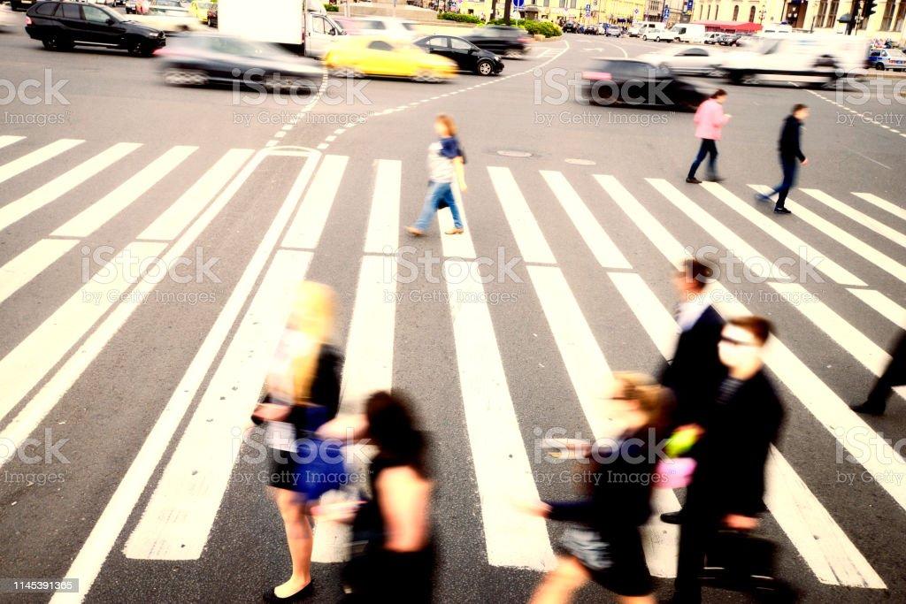 Blurred People Walking on Zebra Crossing, Nevsky Prospekt, St....