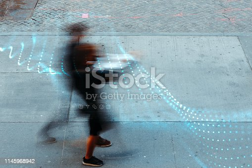 istock Blurred people with facial recognition 1145968942