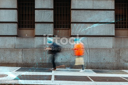 istock Blurred people with facial recognition 1145968953