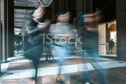 istock Blurred people with facial recognition 1145968962