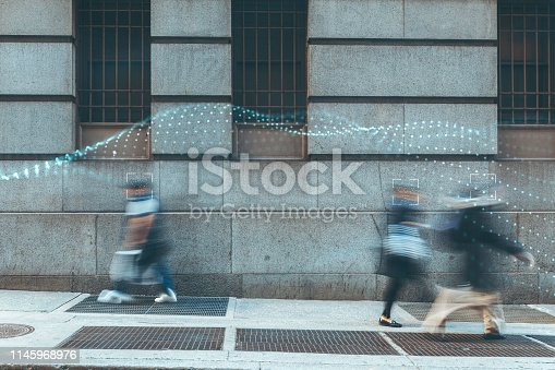 istock Blurred people with facial recognition 1145968976